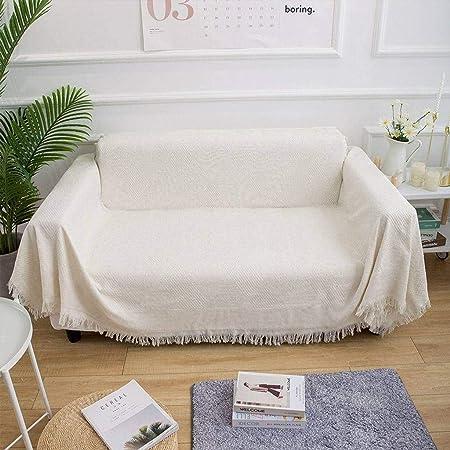 HKPLDE Funda De Sofá Reversible Jacquard, Funda para Sofá Lavable Mantas para Sofas Suave Protector De Muebles para Sala De Estar El Sofá Jardin-Blanco-180x230cm/71x90inch: Amazon.es: Hogar