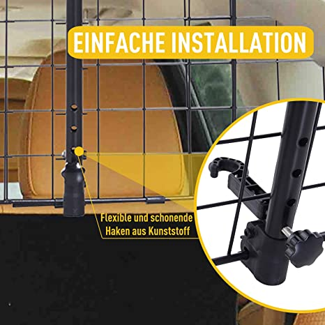 91-145 PawHut Hundeschutzgitter Auto Universal verstellbar Kofferraumgitter Trenngitter Metall schwarz x 30 cm