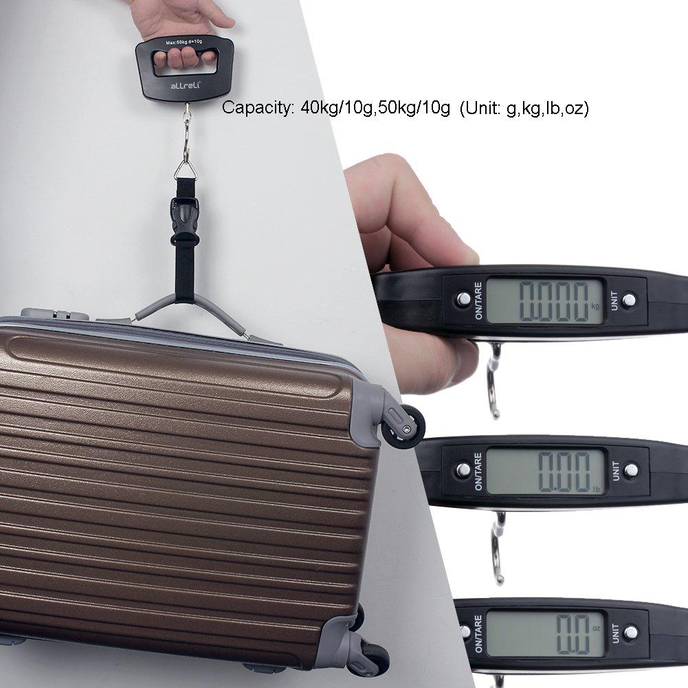 Balanza Digital LCD para equipaje 10g - 50kg aLLreLi con correa, gancho y baterías (mediciones en gramos, onzas, kilos y libras): Amazon.es: Hogar