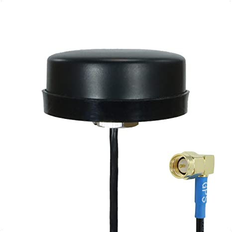 Proxicast Active/Passive GPS Antenna - Through Hole Screw Mount Puck Style with Right Angle SMA Connector on 20 inch Coax Lead - 28 dB LNA