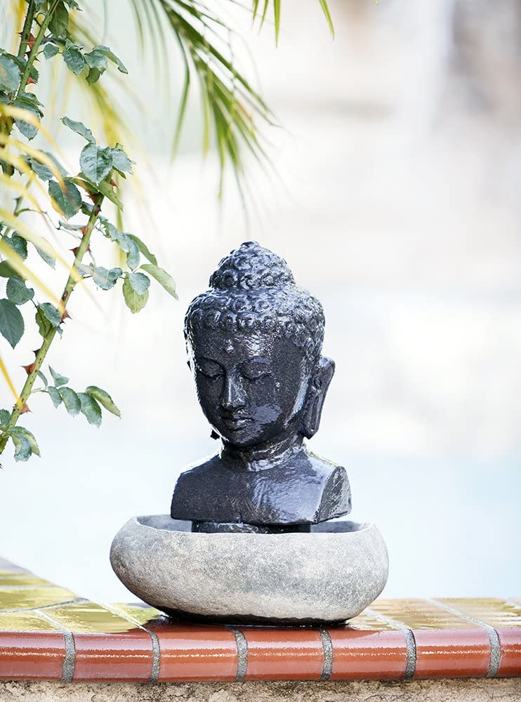 Amazon Com Garden Age Supply Buddha Water Fountain Indoor Outdoor Handmade Carved Lava Stone Table Water Fountain Home Kitchen