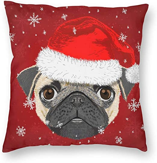 Amazon Com Duduho Cozy Throw Pillow Cover Pug Dog Merry Christmas Decorative Square Pillowcase Happy New Year Throw Cushion Case For Bedroom Living Room Sofa Couch And Bed 18 X 18 Inches Home