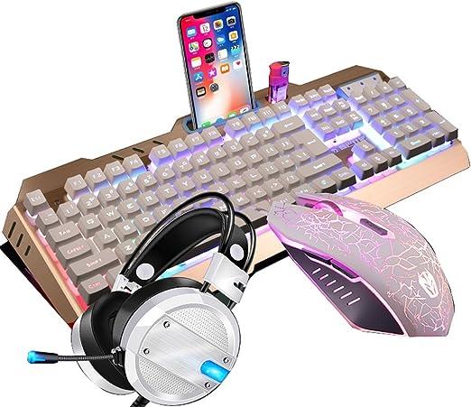 Mingteng Teclado y Mouse para Juegos mecánicos, Mouse Pad ...