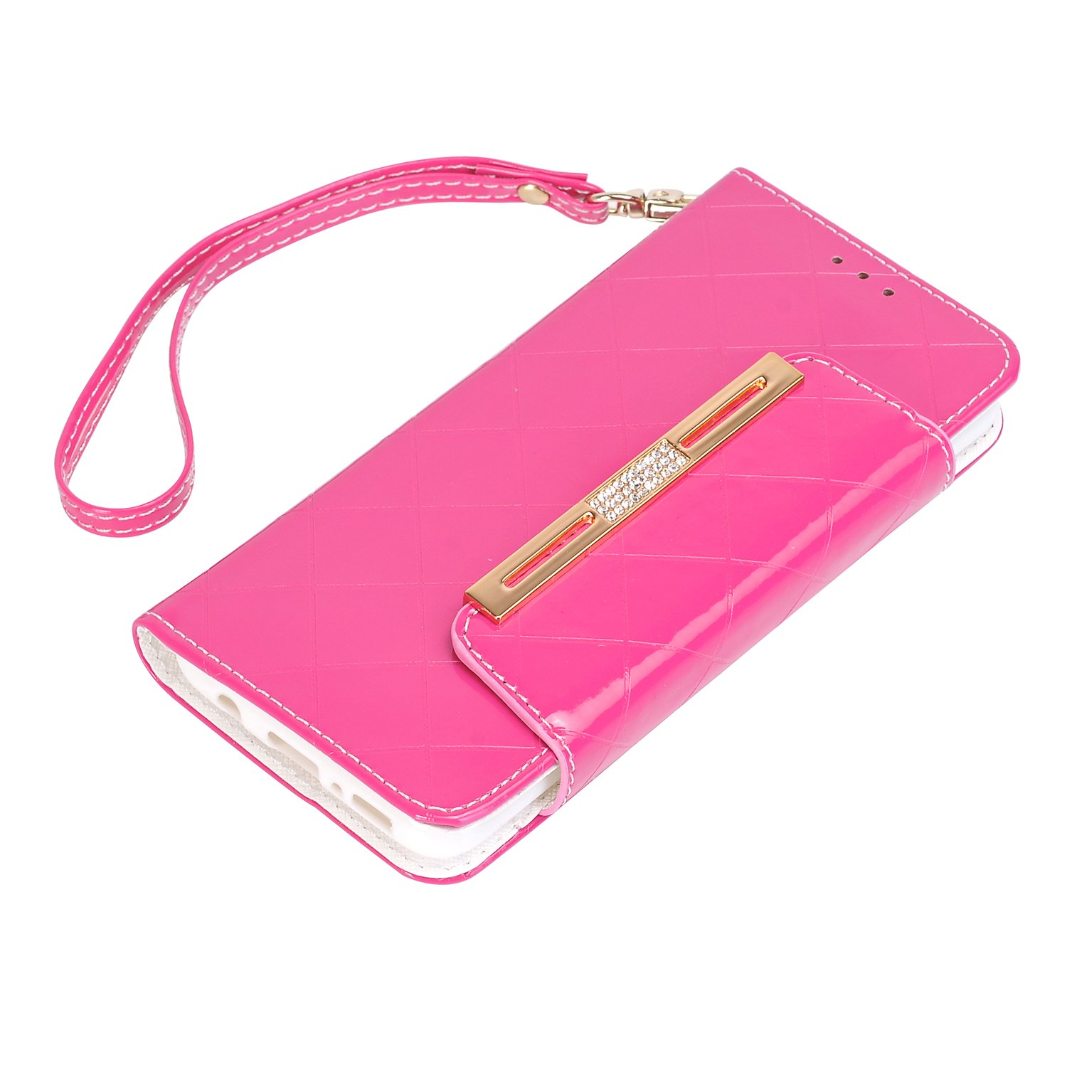 elecfan Case Wallet Handbag with Strap for S8, Candy Color Lady Multi Envelope Wristlet Shiny Flip Cover with Cards Slots & Money Poacket for Samsung Galaxy S8 (Pink)