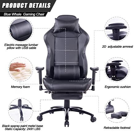 HEALGEN Massage Gaming Chair with Heavy Duty Metal Base,PC Computer Video Game Chair Racing Gamer Chair Reclining Office Desk Chair with Footrest Headrest 8263 Black