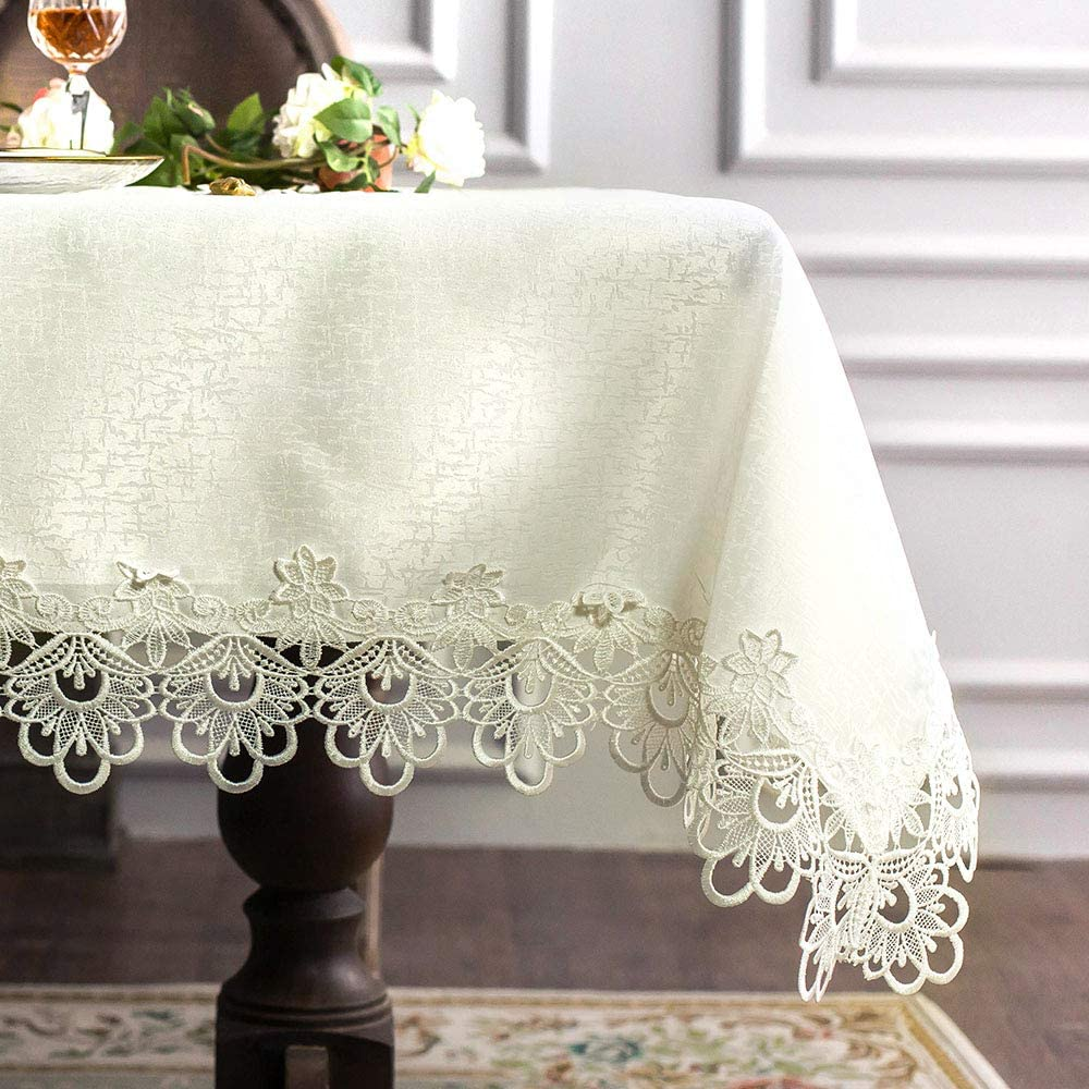 ARTABLE Rectangular Lace Fabric Tablecloth with Macrame Border Clear Embroidered Kitchen Tablecloths for Elegant Holiday Long Dinner Tables (Ivory, Tablecloth 60