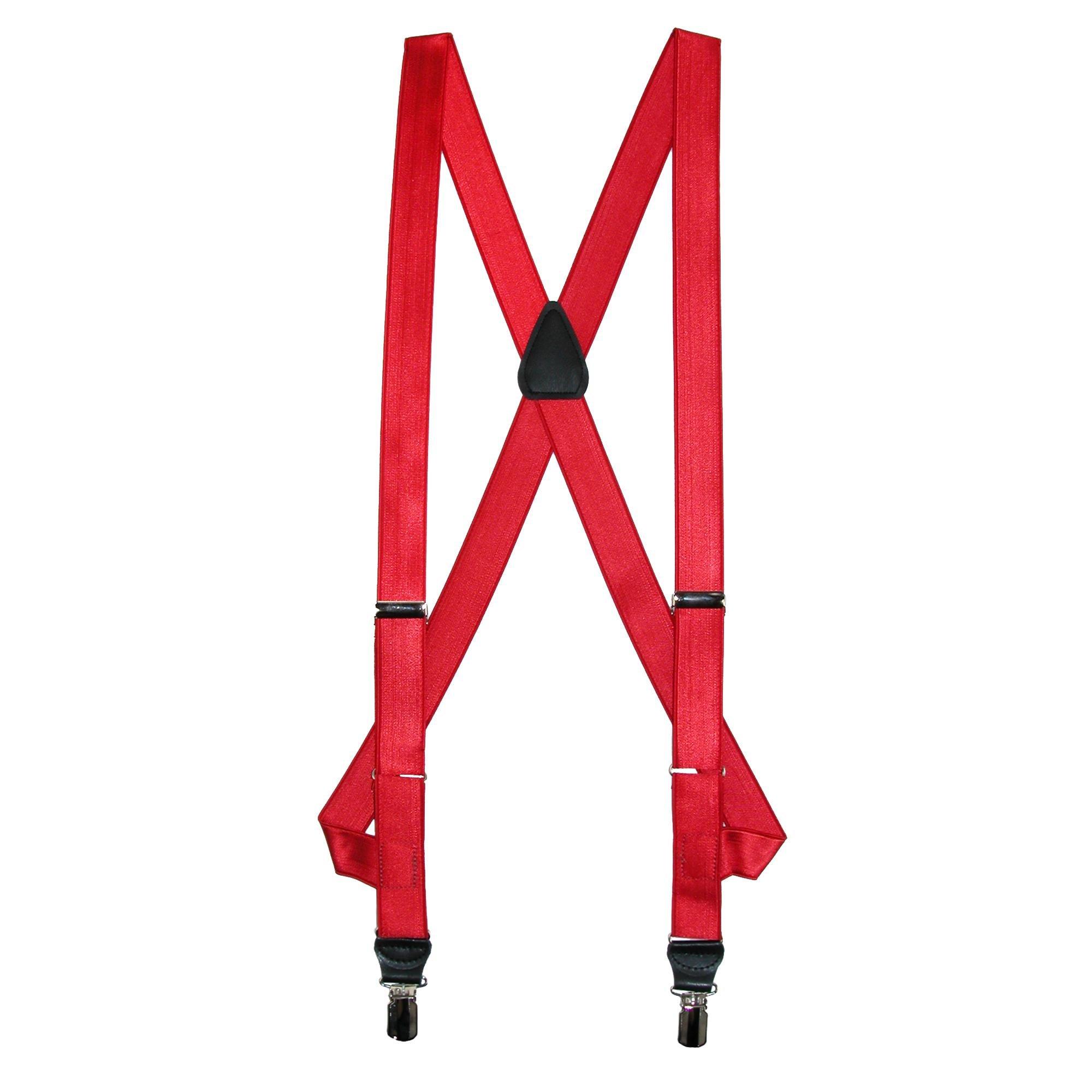 CrookhornDavis Men's Side Clip Satin Braces, Red