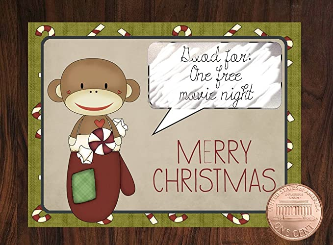 Christmas Monkeys Scratch Off Cards Coupons Handmade
