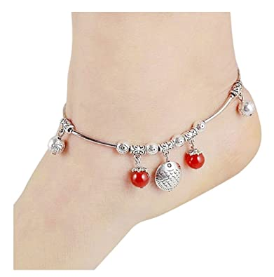 Sunnyshopday 10068 Tibetan Silver Bangle Anklet Ankle Chain Jewelry 925 Sterling Silver GWy4i8YFP