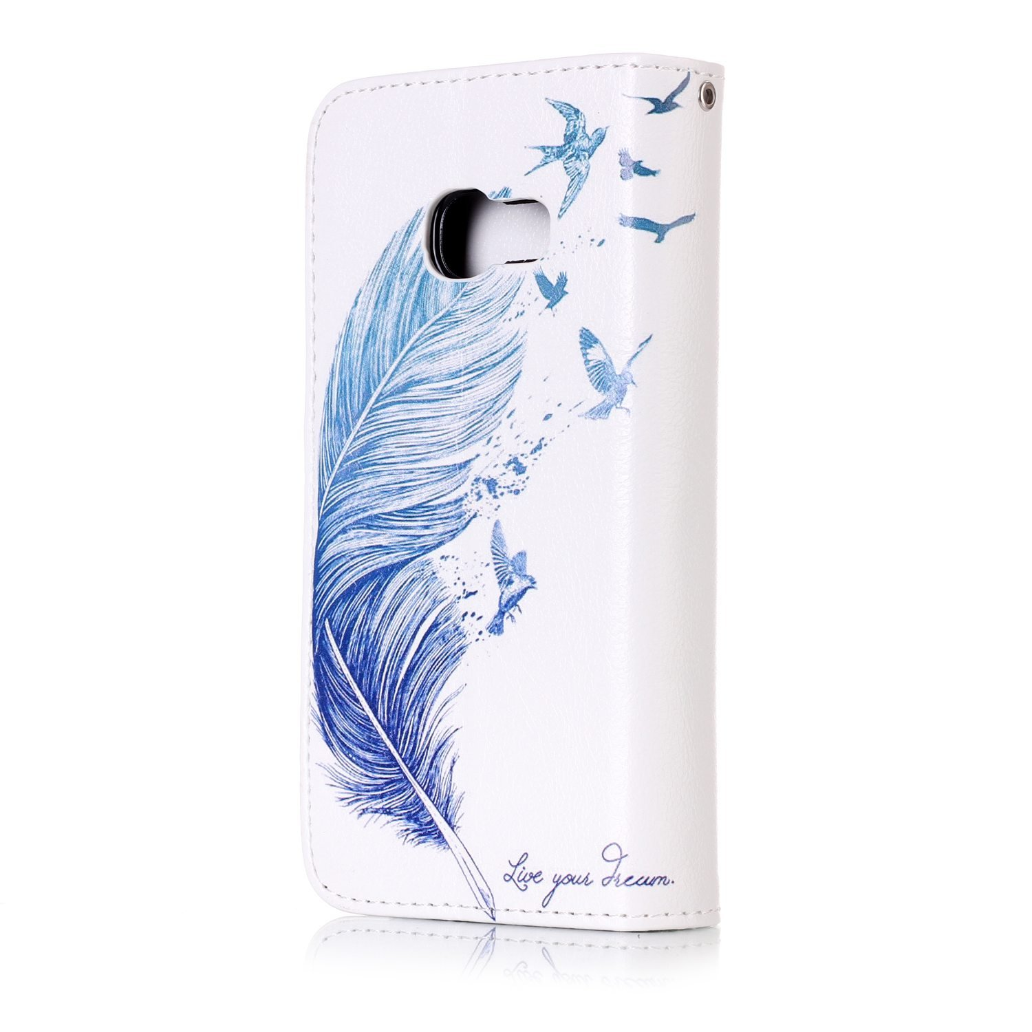 JuSha for Apply to Samsung Galaxy A3 2017 A320 Edge Case PU Leather Wallet Magnetic Cover Skin(Blue Leaf Mobile Phone Case)