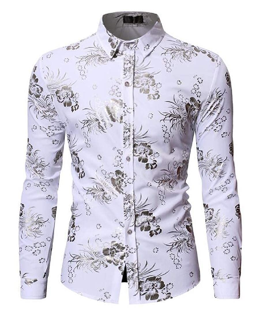 YYear Mens Slim Fit Print Long Sleeve Business Lapel Button Down Dress Shirt