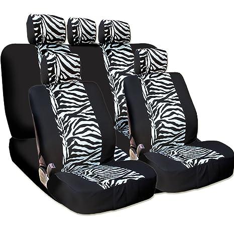 New And Unique YupbizAuto Brand Safari Zebra Print Universal Size Car Truck SUV Seat Covers Set