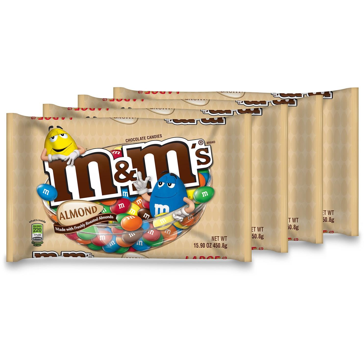 M&M's with Almond Candy, 15.9-Ounce Packages (Pack of 4)