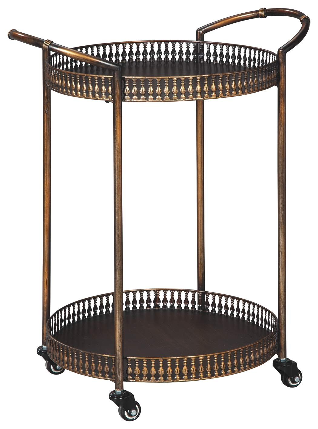 Signature Design by Ashley A4000100 Clarkburn Bar Cart, Bronze Finish by Signature Design by Ashley