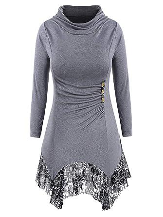 Rosegal T-Shirts Manches Longues Pull Femme Long Tunique Dentelle Chic Tops  Mode Printemps Sweat 1fa9548a1b4