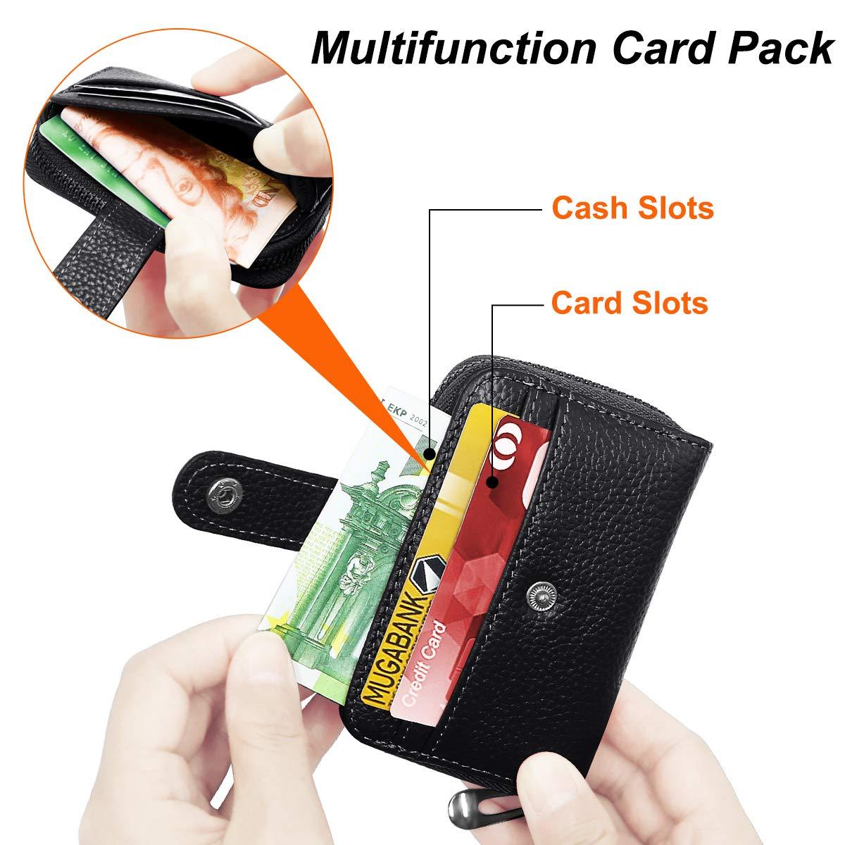 Bleu HNOOM Porte Cartes de Cr/édit pour Les Femmes Homme RFID Porte-Cartes de Portefeuille avec 12 Fentes pour Cartes et 3 Caisse dargent Porte-Monnaie de Cr/édit avec Fermeture /éclair
