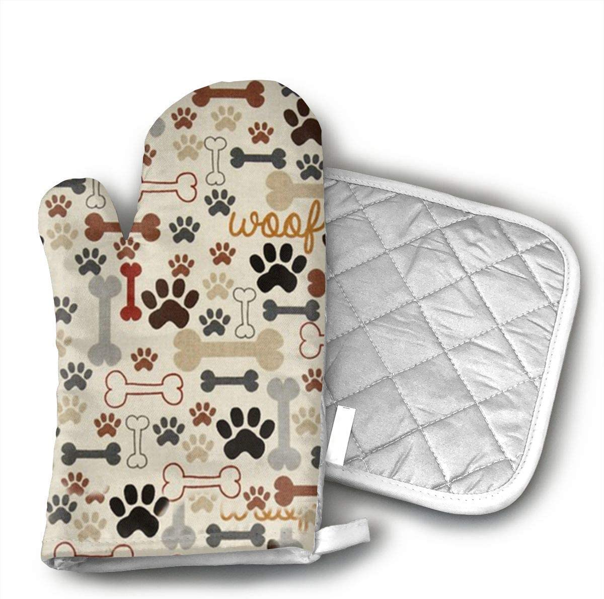 NoveltyGloves Dog Bones Paw Prints Oven Mitts,Professional Heat Resistant Microwave BBQ Oven Insulation Thickening Cotton Gloves Baking Pot Mitts Soft Inner Lining Kitchen Cooking
