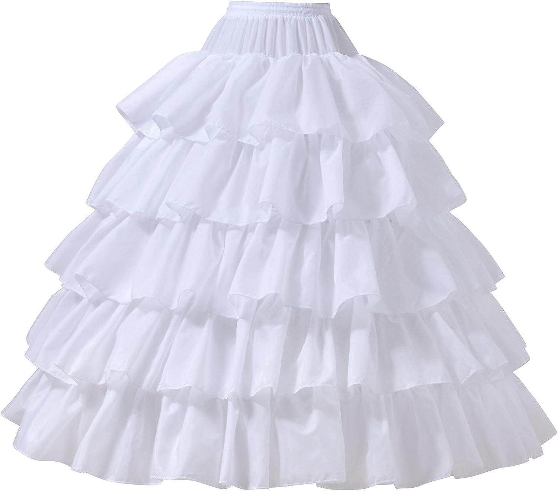 AW BRIDAL 6 Layers Wedding Ball Gown Petticoat Skirt 4 Hoops Slip Crinoline Underskirt