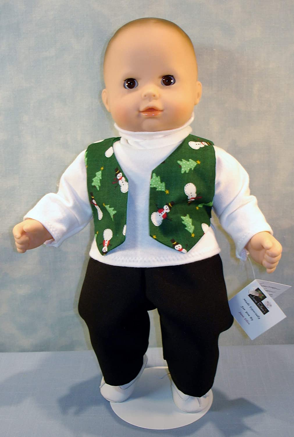 15 Inch Doll Clothes Snowmen on Red Vest Pants and Turtleneck Outfit for boy 15 inch baby dolls