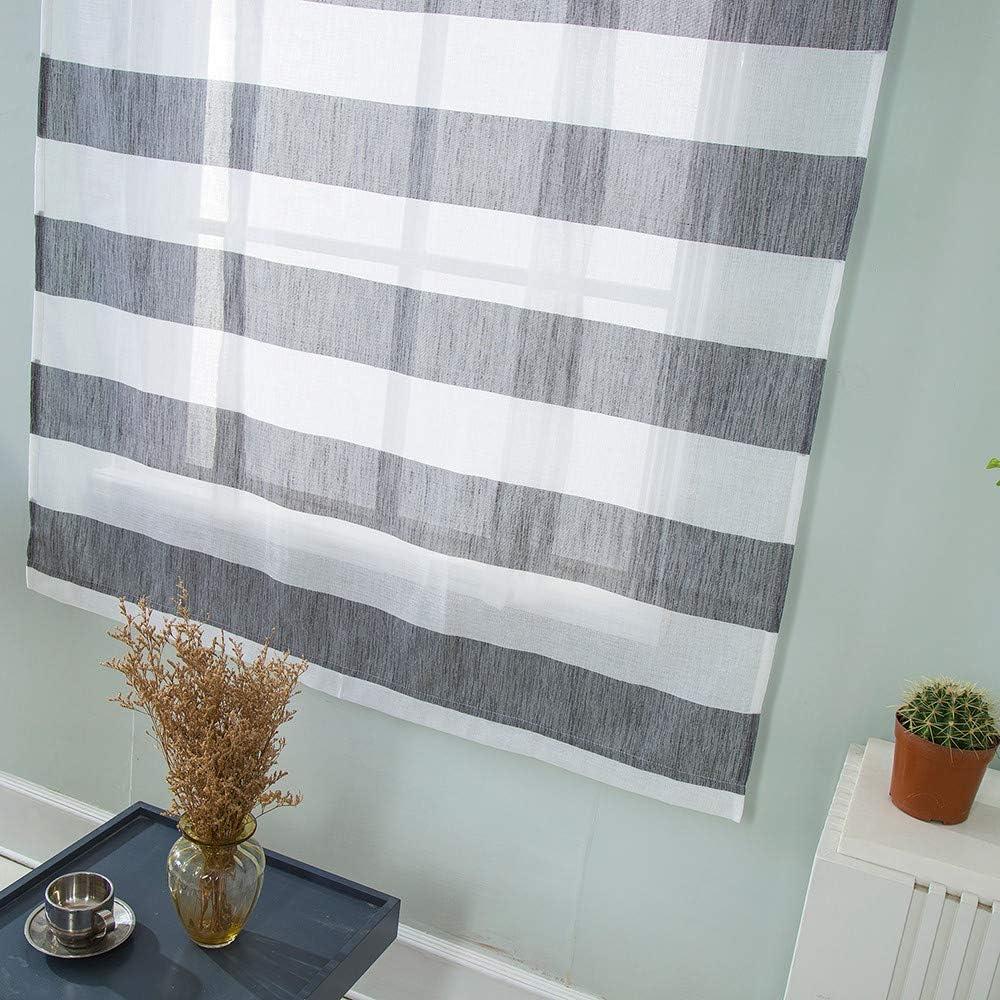 ToDIDAF Streifen Römischer Vorhang, Kurzer Durchsichtiger Gardine,  Haus/Wohnzimmer/Schlafzimmer/Küche/Badezimmer Dekoration, 11x11cm (Grau)