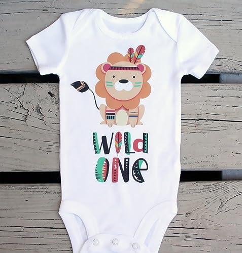First Birthday Shirt Lion Baby Onesie Wild One