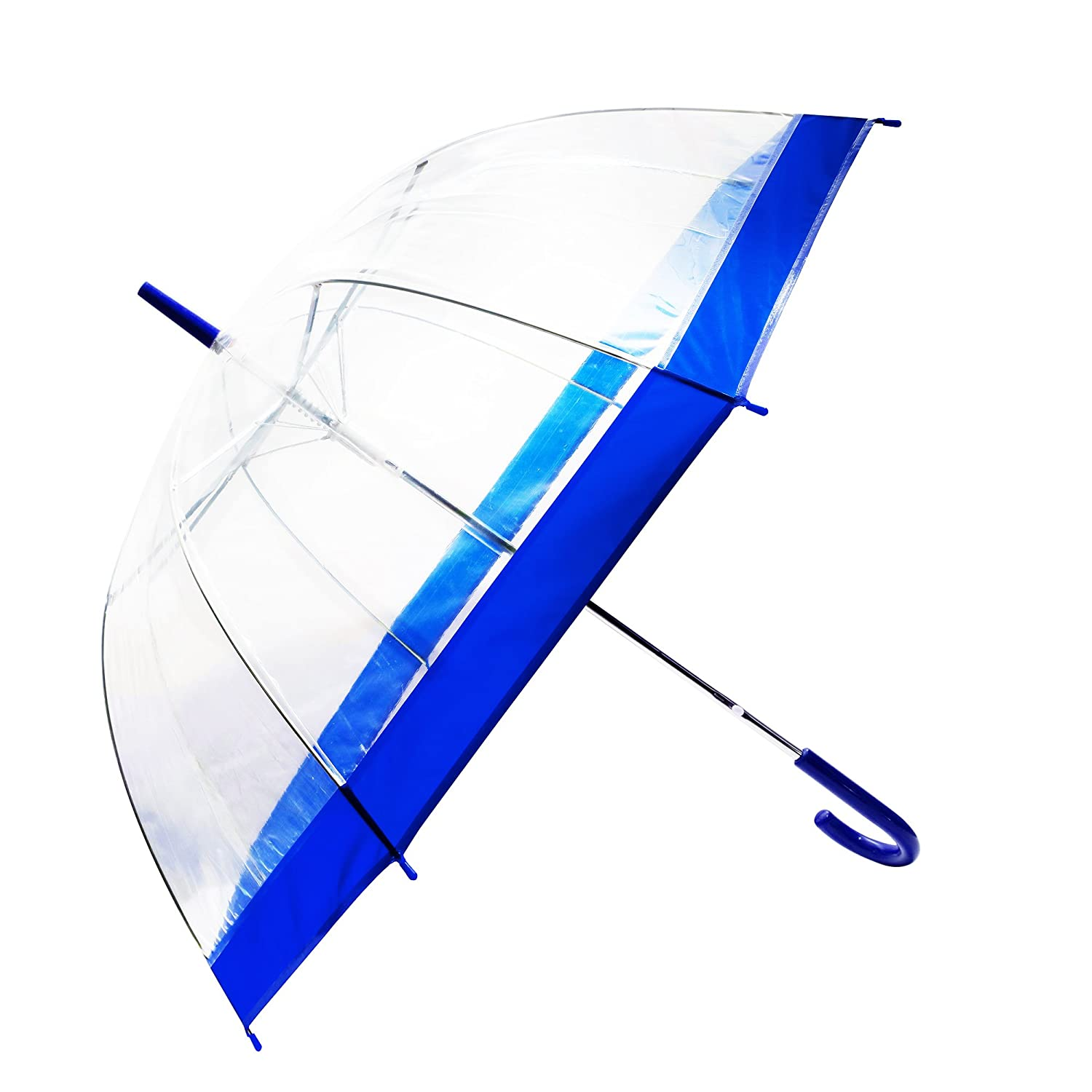 Transparent Bubble Umbrella With Colorful Handle Easy Touch Clear Travel Lightweight (Blue) Festival Depot