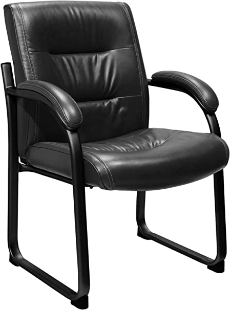 Serta 43499S Faux Leather Guest Chair, Black