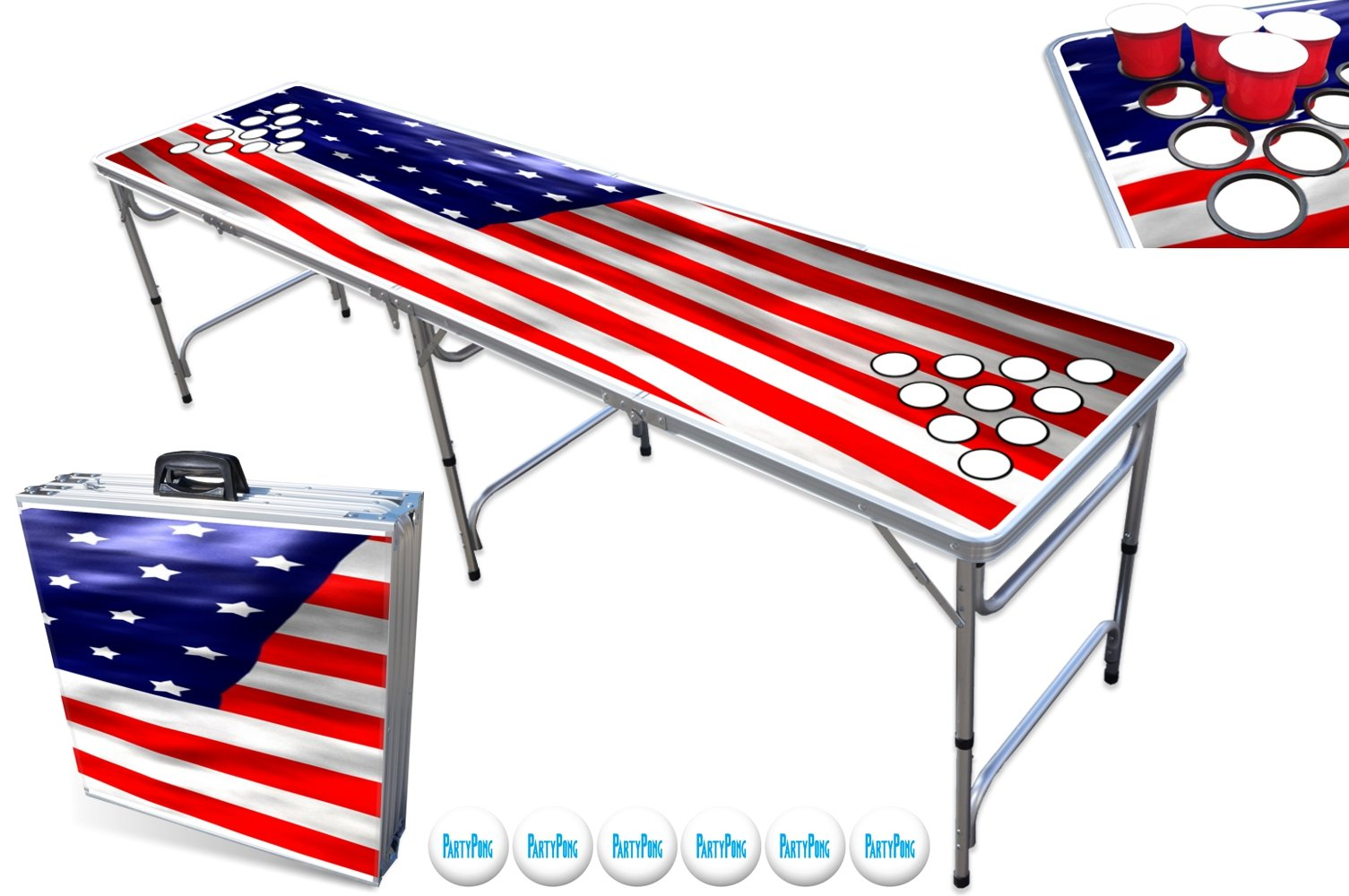 PartyPongTables.com 8-Foot Beer Pong Table with Cup Holes - USA Edition by PartyPongTables