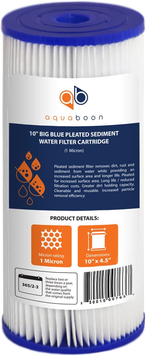 """Aquaboon 1 Micron 10"""" Big Blue Pleated Sediment Water Filter Replacement Cartridge   Whole House Sediment Filtration   Compatible with FM-BB-10-1, ECP1-BB, FM-BB-10-1A, HDC3001, WPC1FF975, 1-Pack"""