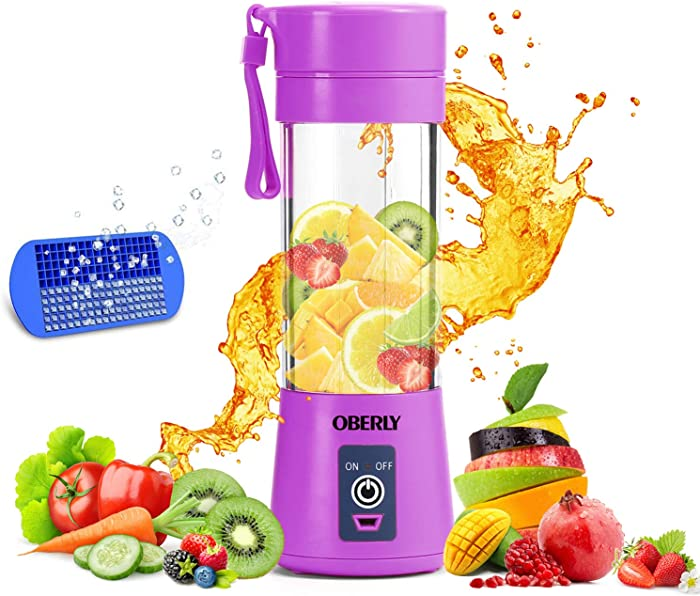 Portable Blender, OBERLY Smoothie Juicer Cup - Six Blades in 3D, 13oz Fruit Mixing Machine with 2000mAh USB Rechargeable Batteries, Ice Tray, Detachable Cup, Perfect Blender for Personal Use (FDA, BPA Free)