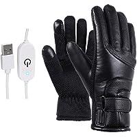 Verwarmde Handschoenen Elektrische Winter Thermische Handschoenen USB Touchscreen Waterdicht Leer Zwart voor Vrouwen…