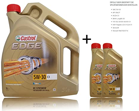 Aceite de motor Castrol Edge Titanium FTTM 5W-30 C3, 2 botellas de 1