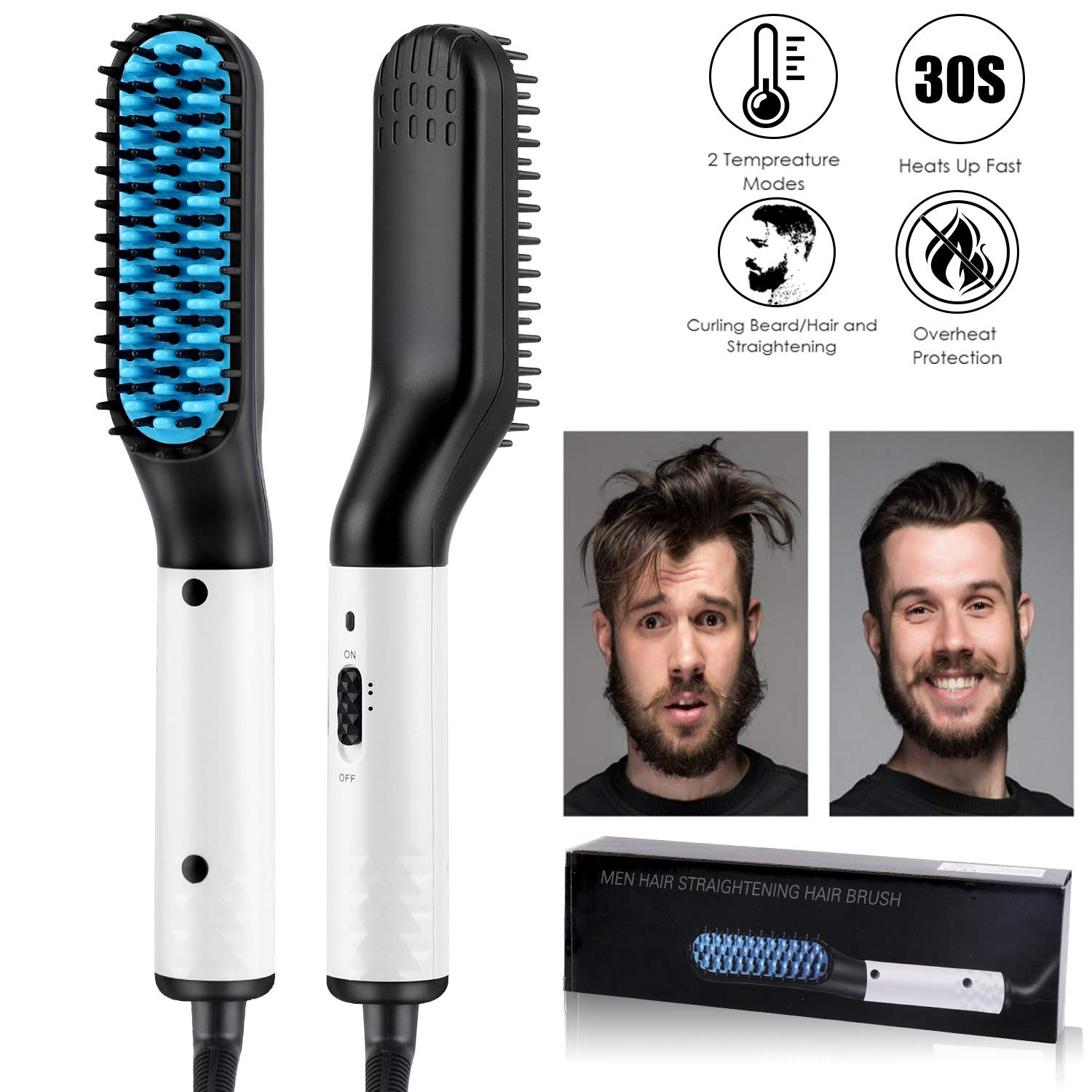 Beard Straightener for men,MOICO Electric Ionic Hair/Beard Straightening Comb for Men-Fast Heat Multifunctional Comb for Beard Grooming And Hair Styling Fast Shaping by MOICO