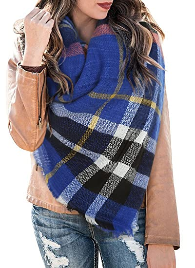 Women s Plaid Blanket Winter Scarf Warm Cozy Tartan Wrap Oversized Shawl  Cape 7144061287a