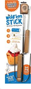 Wolf'em Marshmallow Roasting Stick - Multiple Cooking Attachments - Campfire Pie, S'More, and Hot Dog BBQ Roaster | Easy Spin Handles