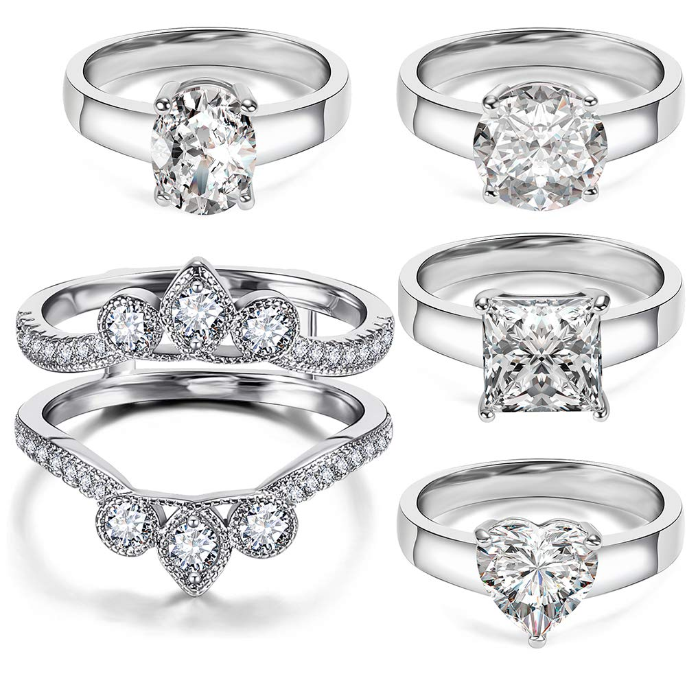 5 PCS Rings for One Bridal Set - 18K White Gold Plated Ring Enhancer Guard Sent with Heart Round Square Oval Cubic Zirconia Rings by Hiyong