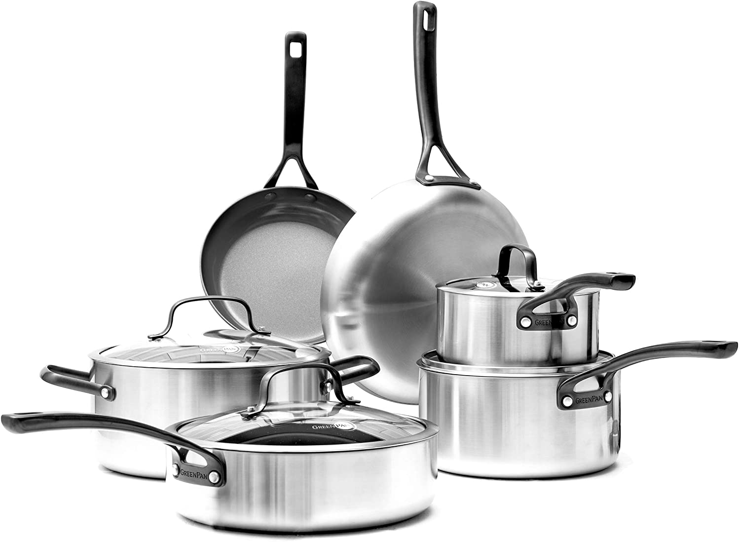 GreenPan Napa Stainless Steel Ceramic Nonstick, Cookware Pots and Pans Set, 10-Piece, Gray