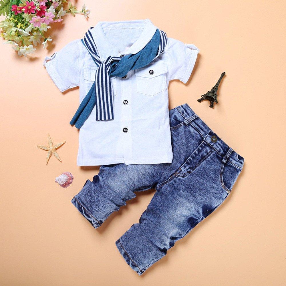 MOIKA Baby Jungen Kleidung Set Schal 2-7 Jahre alt Kinder Baby Jungen Reise Strandurlaub l/ässig Kurzarm T-Shirt Tops Hose Outfits Set