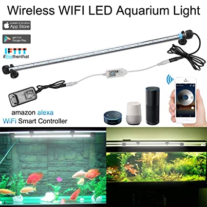 SUBOSI Regulable Brillo Blanco Color Lámpara de Acuario 8W 62CM 33 Luces SMD5050 LED Lampara Tira
