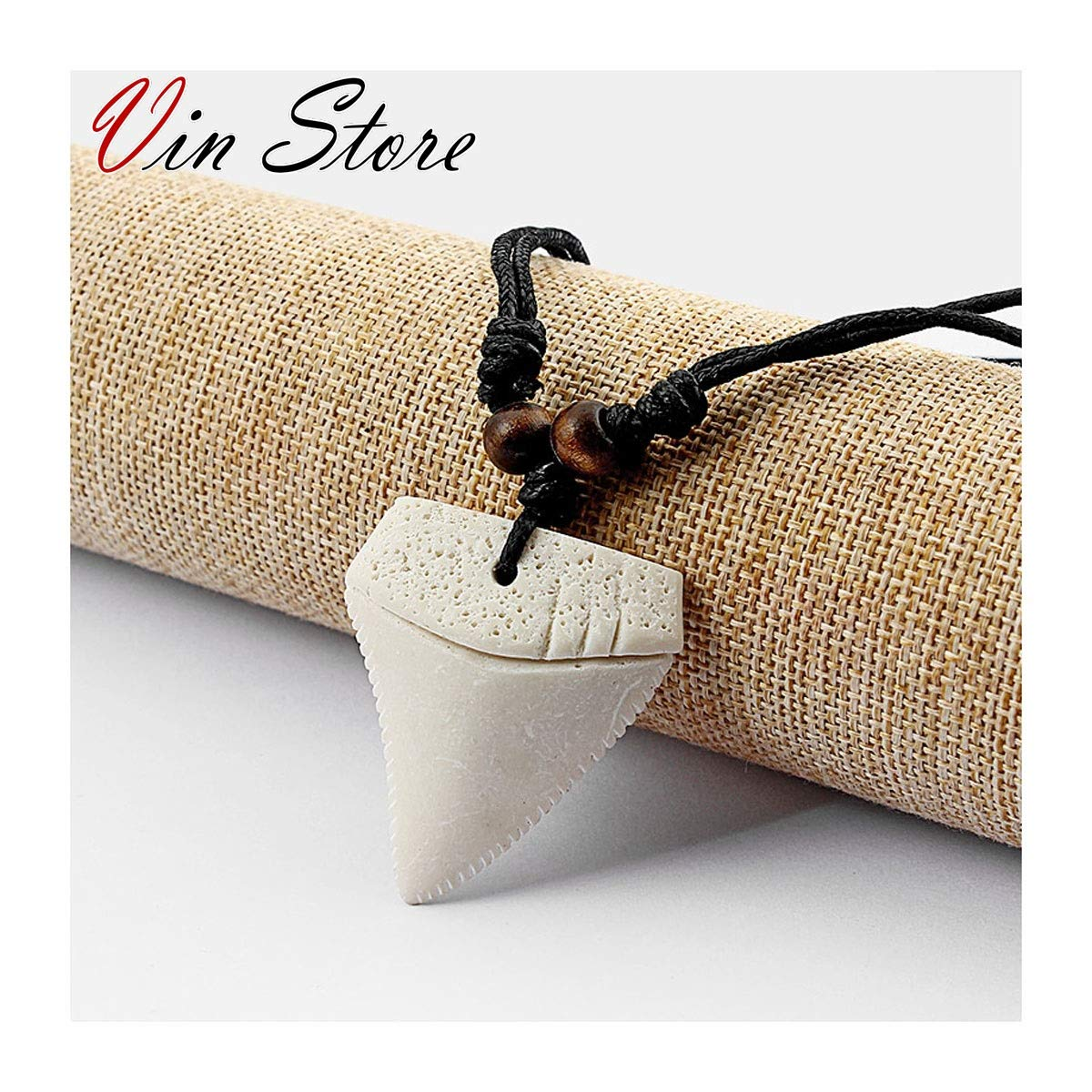Vin Store Shark Tooth Necklace with Wood Beads Handmade Hawaiian Style Beach for Boys Girls