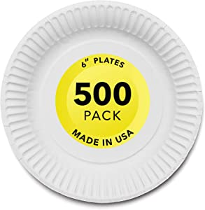 """Stock Your Home 6-Inch Paper Plates Uncoated, Everyday Disposable Dessert Plates 6"""" Paper Plate Bulk, White, 500 Count"""