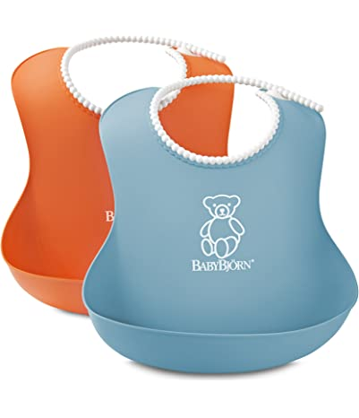 BABYBJORN Soft Bib - Orange/Turquoise (2 pack)