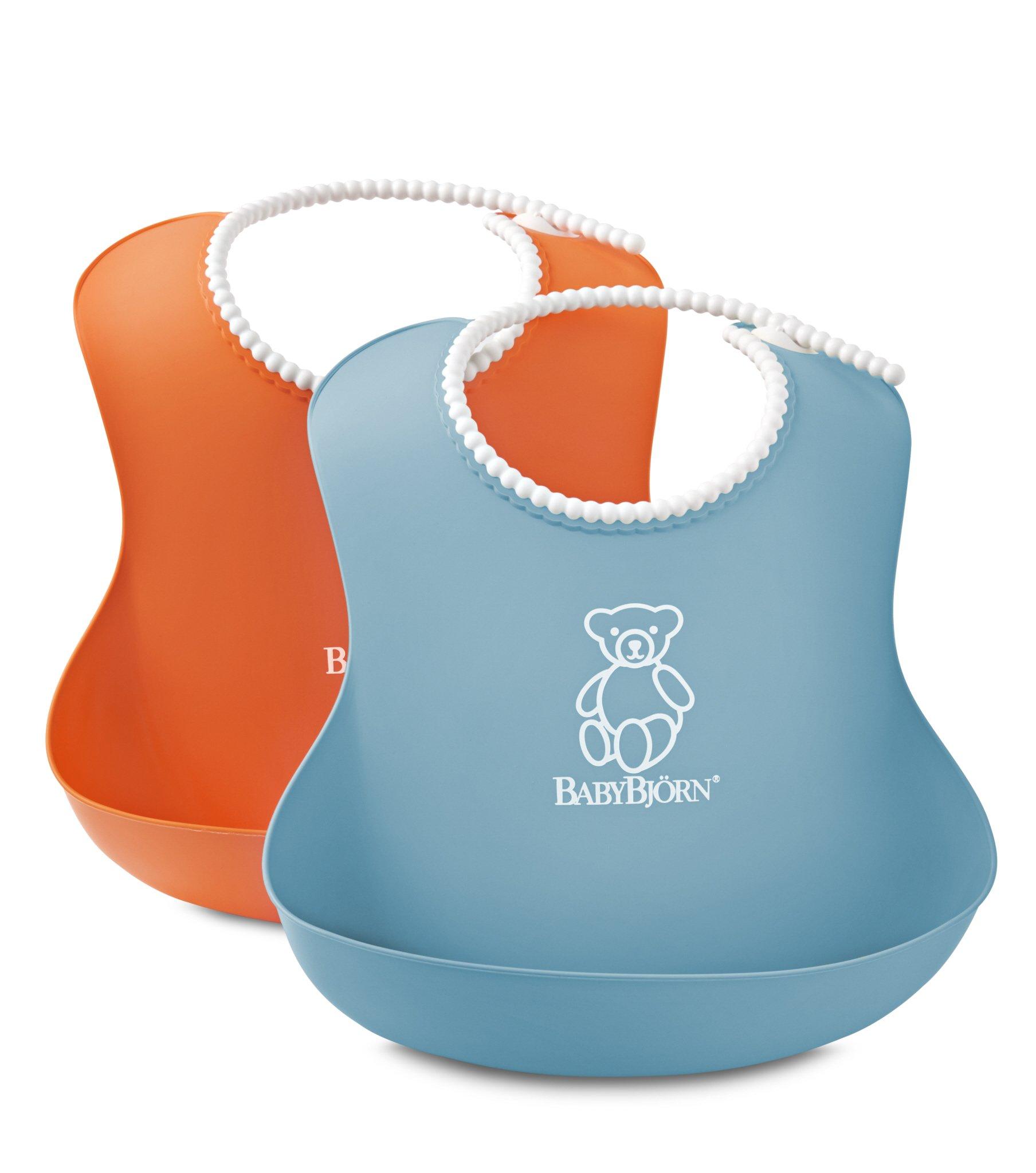 BABYBJORN Soft Bib, Orange/Turquoise, 2 Pack