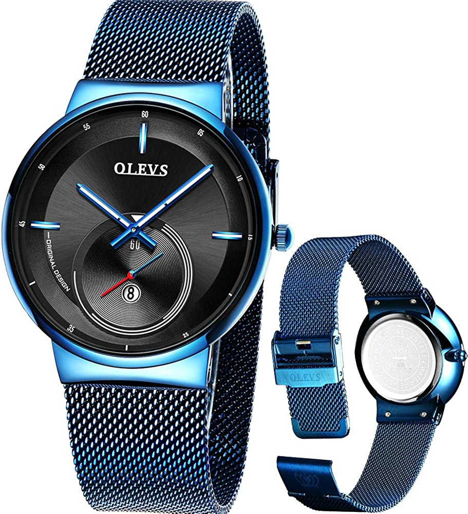 OLEVS Mens Dress Watches Waterproof Stainless Steel Mesh Watch for Men,Fashion Casual Classic Wrsitwatch,Full Steel Gents Watch with Date Luminous Dial