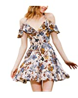 Eloise Isabel Fashion Mulheres floral dress flores bonitas imprimir ruffles festa v neck halter fora do