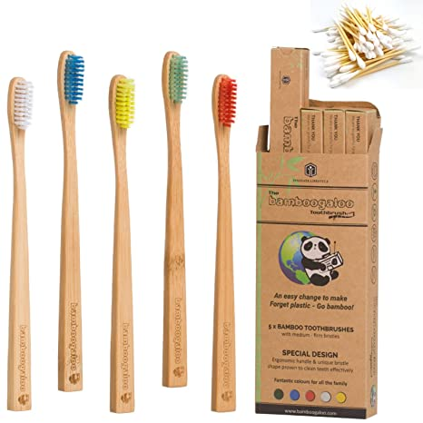 Bambogooy - Cepillos de dientes orgánicos de bambú con diseño de familia sin plástico, 5 unidades, ...