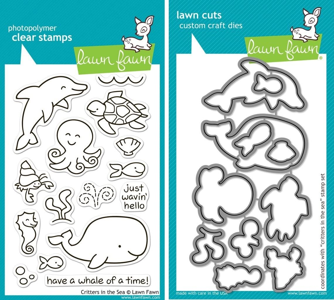 Lawn Fawn CRITTERS IN THE SEA Clear Stamps /& Lawn Cuts Die Set LF311 LF776