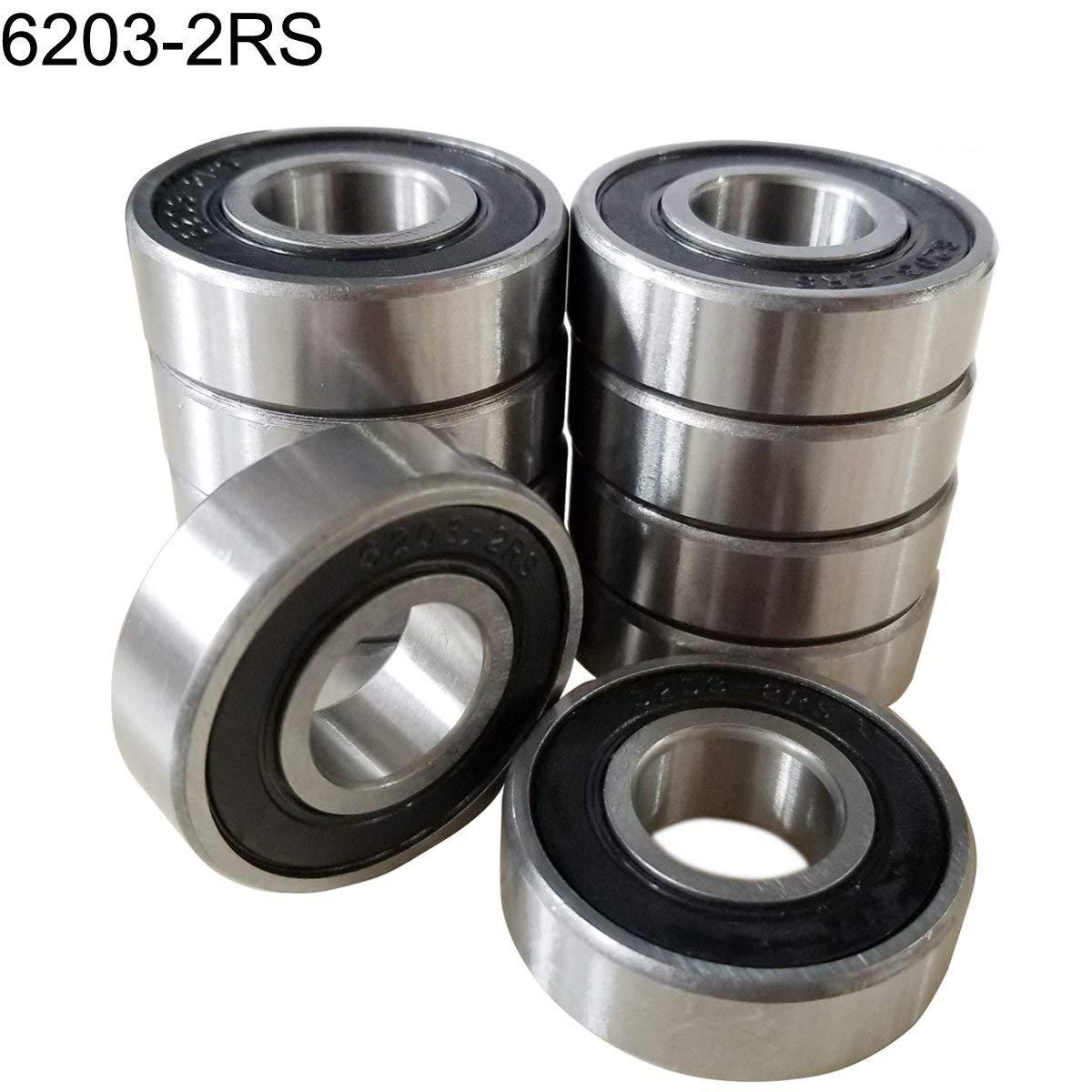 Deep Groove Ball Bearings Double Seal and Pre-Lubricated Bearing Steel M-jump 10 PCS 6203-2RS Sealed Bearings 17x40x12mm Ball Bearing
