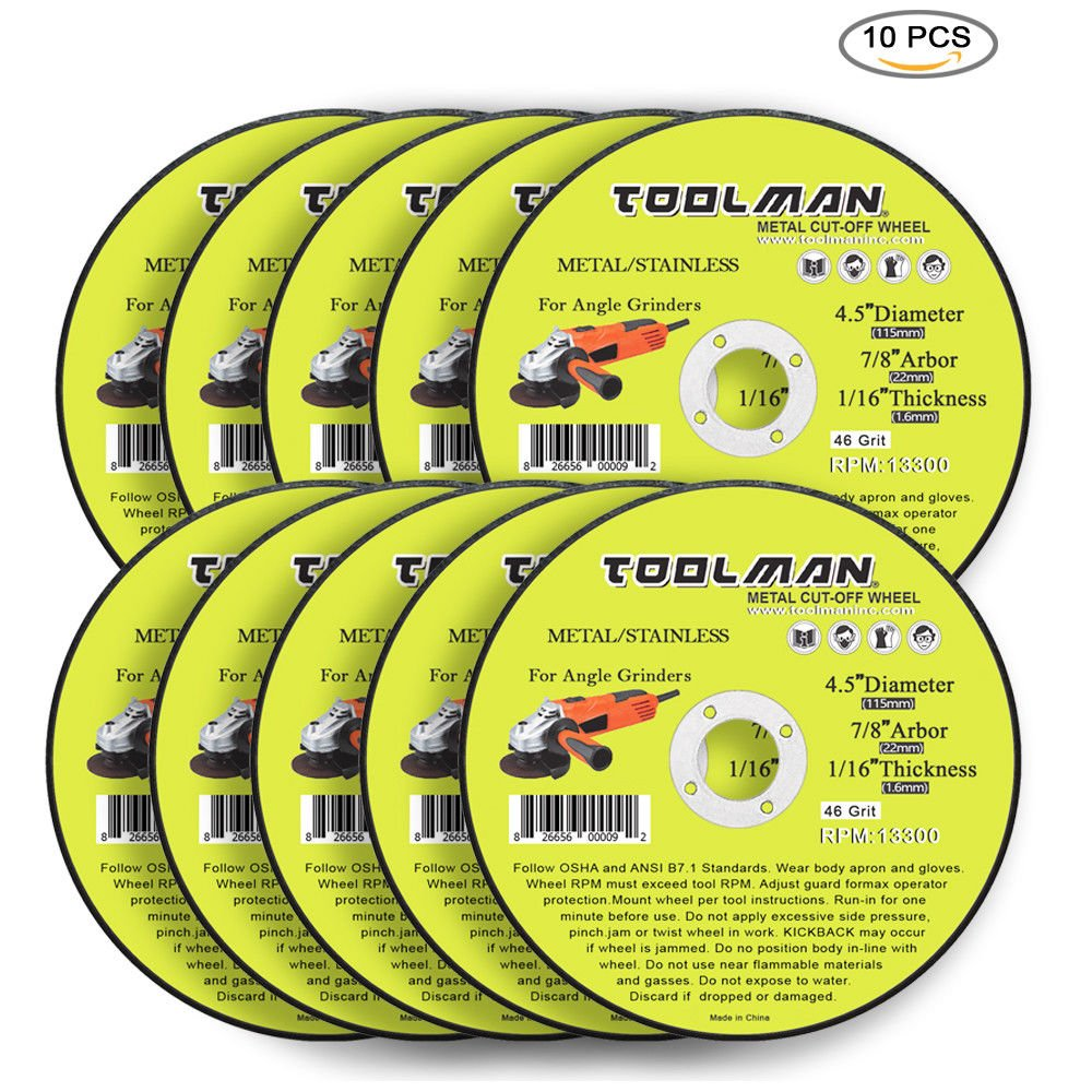 Toolman Premium Cut Off Cutting Wheel Universal Fit 10pcs 46 Grit 13300 rpm - 4.5'' x 7/8'' x 1/16'' for metal and stainless steel works with DeWalt Makita Ryobi