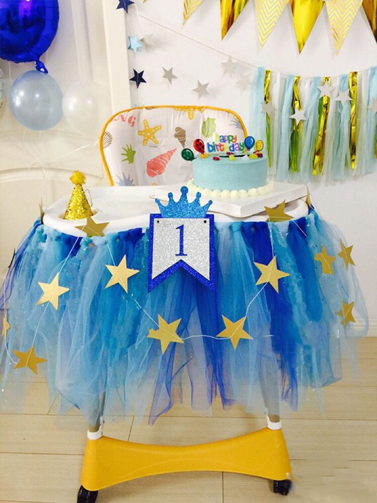 1st 2nd Birthday Boy Baby Tutu Skirt For High Chair Decoration And Twinkle Little Star Banner 13 Feet Happy Decor Highchair Party Supply